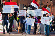 31 JANUARY 2011 - TEMPE, AZ: About 200 people marched through central Tempe, AZ, near the Arizona State University campus Monday afternoon. The rally was organized by the Arab American Association of Arizona in solidarity with the ongoing pro-democracy rallies and demonstrations in Egypt and other Arab countries.    Photo by Jack Kurtz