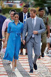 The Duke and Duchess of Sussex are followed by Tonga's Princess Angelika as they depart from Fua'amotu International Airport in Tonga on the second day of their visit.