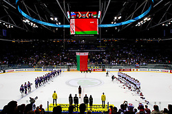 Belarus players (R) listening to the national anthem during ice-hockey match between Slovenia and Belarus of Group G in Relegation Round of IIHF 2011 World Championship Slovakia, on May 8, 2011 in Orange Arena, Bratislava, Slovakia. Belarus defeated Slovenia 7-1 and stays in Elite Group A. (Photo By Vid Ponikvar / Sportida.com)