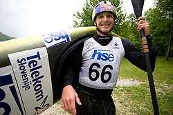 Peter Kauzer of BD Steklarna Hrastnik after he competed in the Men's Kayak K-1 at kayak & canoe slalom race on May 9, 2010 in Tacen, Ljubljana, Slovenia. (Photo by Vid Ponikvar / Sportida)
