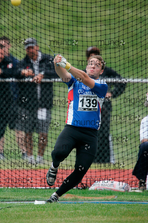 (Charlottetown, Prince Edward Island -- 20090717) Angus J. Taylor of BC Athletics competes in the hammer throw at the 2009 Canadian Junior Track & Field Championships at UPEI Alumni Canada Games Place on the campus of the University of Prince Edward Island, July 17-19, 2009.  Copyright Geoff Robins / Mundo Sport Images , 2009...Mundo Sport Images has been contracted by Athletics Canada to provide images to the media.