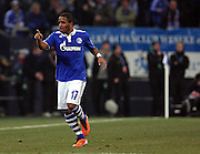 Jefferson Farfan (Schalke) celebrates  during the UEFA Champions League round of 16 second leg match between Schalke 04 and Valencia at Veltins Arena on March 9, 2011 in Gelsenkirchen, Germany.