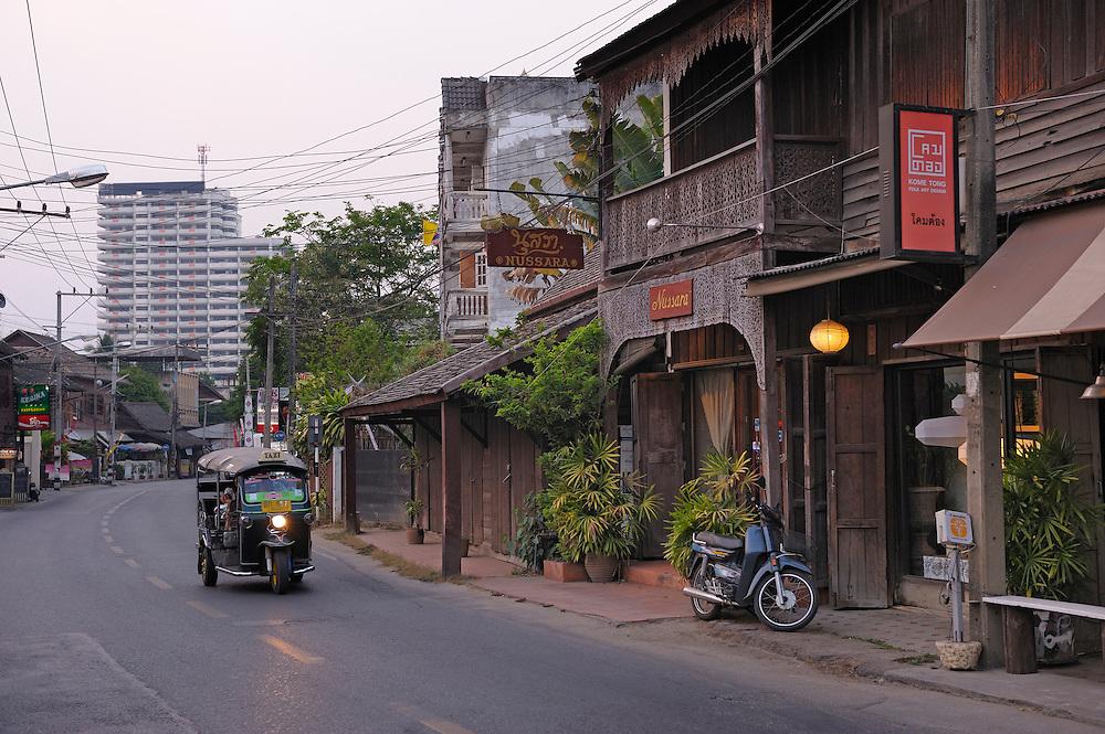 Houses along Charoeanraj Road, Chiang Mai, Thailand