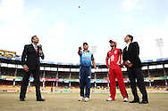 Titans captain Henry Davids tosses the coin as Trinidad &amp; Tobago captain Denesh Ramdin calls and Match Referee R Mahanama looks on during match 16 of the Karbonn Smart Champions League T20 (CLT20) 2013  between The Titans and Trinidad and Tobago held at the Sardar Patel Stadium, Ahmedabad on the 30th September 2013<br /> <br /> Photo by Shaun Roy-CLT20-SPORTZPICS  <br /> <br /> Use of this image is subject to the terms and conditions as outlined by the CLT20. These terms can be found by following this link:<br /> <br /> http://sportzpics.photoshelter.com/image/I0000NmDchxxGVv4