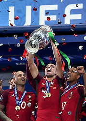 Pepe of Portugal lift's the Henri Delaunay Trophy as Portugal celebrate Winning the Uefa European Championship   - Mandatory by-line: Joe Meredith/JMP - 10/07/2016 - FOOTBALL - Stade de France - Saint-Denis, France - Portugal v France - UEFA European Championship Final