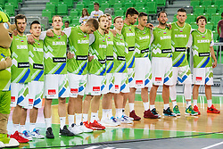 Slovenian national team during Slovenian national anthem for qualifying match between Slovenia and Kosovo for European basketball championship 2017,  Arena Stozice, Ljubljana on 31th August, Slovenia. Photo by Grega Valancic / Sportida
