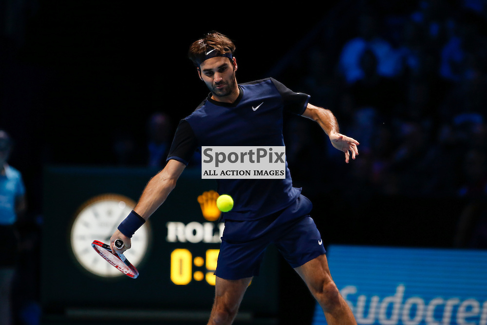 Roger Federer's forehand during a semi-final match between Roger Federer and Stan Wawrinka at the ATP World Tour Finals 2015 at the O2 Arena, London.  on November 21, 2015 in London, England. (Credit: SAM TODD | SportPix.org.uk)