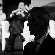 """La scorta privata di Berlusconi. Manifestazione """"Si Amo l'Italia' promossa dal Coordinamento nazionale dei Club di Forza Italia all'Auditorium del Complesso del Divino Amore, Roma 14 gennaio 2015.  Christian Mantuano / OneShot"""