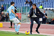 Lazio head coach Simone Inzaghi gestures during the Italian championship Serie A football match between SS Lazio and US Lecce Sunday, Nov. 10, 2019 at the Stadio Olimpico in Rome. SS Lazio defeated US Lecce 4-2. (Federico Proietti/Image of Sport)