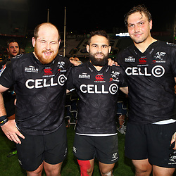 Lourens Adriaanse with Cobus Reinach and Etienne Oosthuizen of the Cell C Sharks during the Vodacom Super Rugby match between the Cell C Sharks and the Emirates Lions the at Growthpoint Kings Park in Durban, South Africa. 15th July 2017(Photo by Steve Haag)