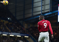 Football - 2017 / 2018 Premier League - Chelsea vs Manchester United<br /> <br /> Romelu Lukaku (Manchester United) heads the ball at Stamford Bridge <br /> <br /> COLORSPORT/DANIEL BEARHAM