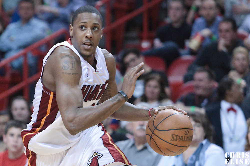 12 March 2010: Miami Heat guard Mario Chalmers dribbles during the Miami Heat 108-95 victory over the Chicago Bulls at the AmericanAirlines  Arena, in Miami, Florida, USA.