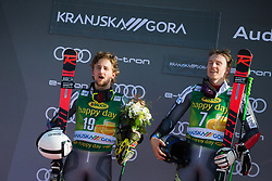 WINDINGSTAD Rasmus of Norway and KRISTOFFERSEN Henrik of Norway celebrate during trophy ceremony after the Audi FIS Alpine Ski World Cup Men's Giant Slalom 58th Vitranc Cup 2019 on March 9, 2019 in Podkoren, Kranjska Gora, Slovenia. Photo by Peter Podobnik / Sportida