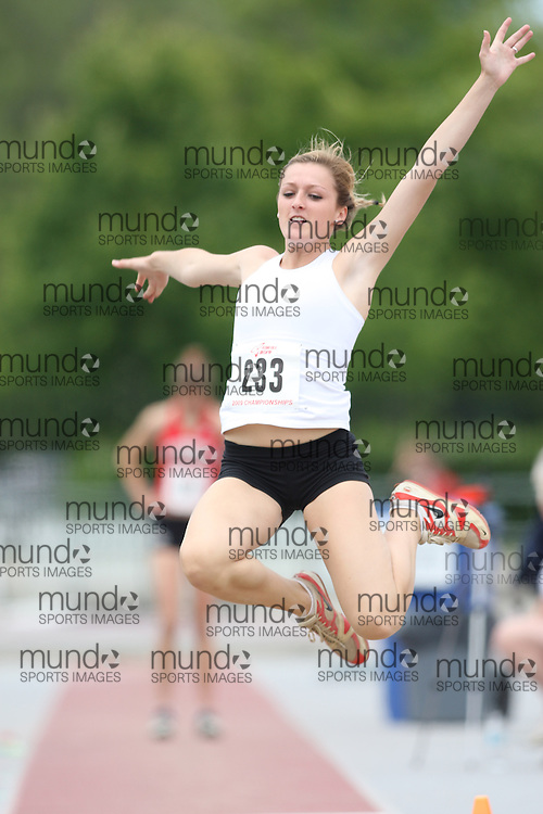 (London, Ontario---13/06/09)   Taylor Neely of I Be Fast T.C. competes in the  junior women's long jump at the 2009 Athletics Ontario Junior Track and Field Championships. The meet was held in London, Ontario from June 13-14, 2009. Copyright photograph Sean Burges / Mundo Sport Images, 2009. www.mundosportimages.com / www.msievents.