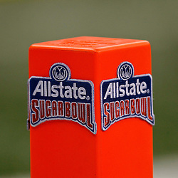January 3, 2012; New Orleans, LA, USA; A detail of a endzone pylon with the Allstate Sugar Bowl logo during the Sugar Bowl between the Michigan Wolverines and the Virginia Tech Hokies at the Mercedes-Benz Superdome. Michigan defeated Virginia 23-20 in overtime. Mandatory Credit: Derick E. Hingle-US PRESSWIRE