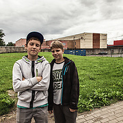 Two russian speaking teen agers posing in Narva downtown; 97% of the about 60 thousand resident of Narva are russian speaking people