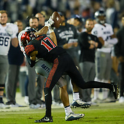 18 November 2017:  The San Diego State football team hosts Nevada Saturday night. San Diego State Aztecs cornerback Ron Smith (17) breaks up a pass to a Nevada receiver in the third quarter. The Aztecs beat the Wolf Pack 42-23 at SDCCU stadium. <br /> www.sdsuaztecphotos.com