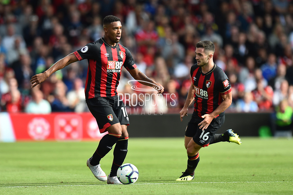 Jordon Ibe (10) of AFC Bournemouth and Lewis Cook (16) of AFC Bournemouth during the Premier League match between Bournemouth and Everton at the Vitality Stadium, Bournemouth, England on 25 August 2018.