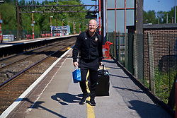 RUNCORN, ENGLAND - Tuesday, May 22, 2018: Wales' physiotherapist Sean Connelly at Runcorn Station as the squad travel by train as they head to Heathrow for a flight to Los Angeles ahead of the international friendly match against Mexico. (Pic by David Rawcliffe/Propaganda)