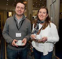 Dr. Aidan Carney, Roscam, and Dr. Siobhan McDonagh Galway City at Rheumatology Toolbox : Rheumatology for General Practice Conference at the Radisson Blu Hotel , Galway. Photo:Andrew Downes