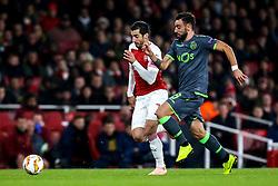 Henrikh Mkhitaryan of Arsenal takes on Bruno Fernandes of Sporting Lisbon - Mandatory by-line: Robbie Stephenson/JMP - 08/11/2018 - FOOTBALL - Emirates Stadium - London, England - Arsenal v Sporting Lisbon - UEFA Europa League