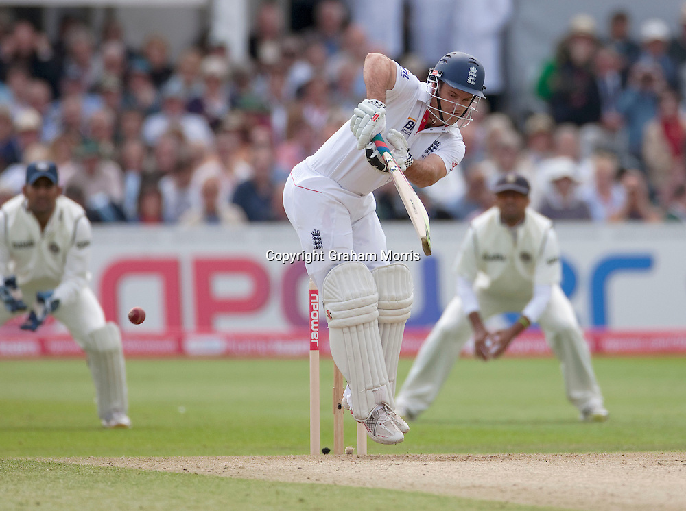 Andrew Strauss off Sreesanth during the second npower Test Match between England and India at Trent Bridge, Nottingham.  Photo: Graham Morris (Tel: +44(0)20 8969 4192 Email: sales@cricketpix.com) 29/07/11