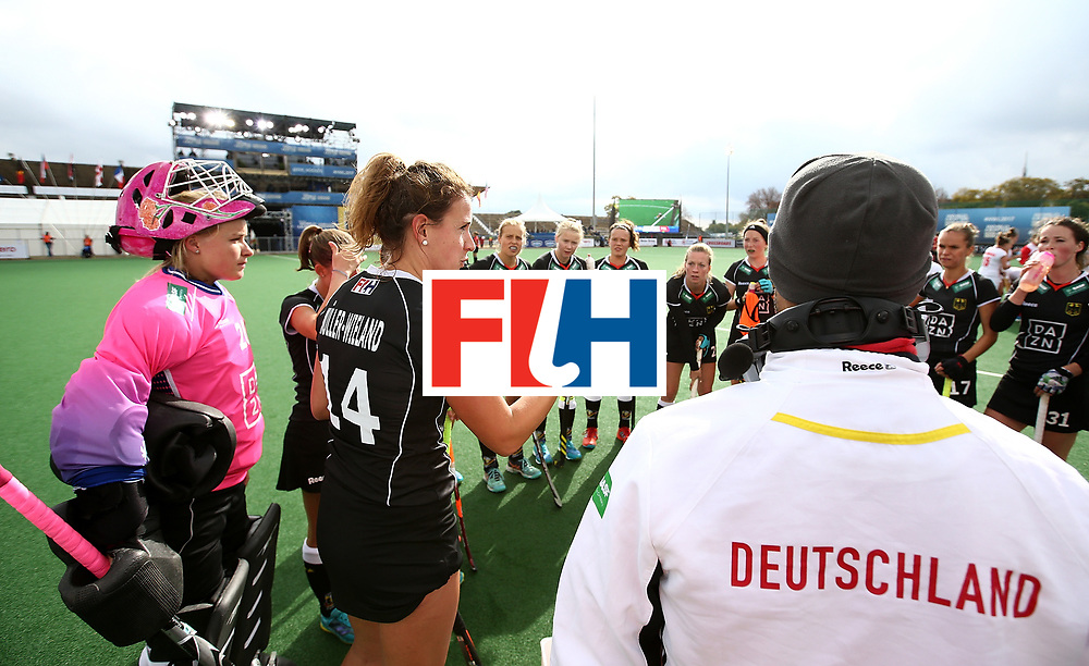 JOHANNESBURG, SOUTH AFRICA - JULY 08:  Janne Muller-Wieland of Germany chats with team mates during day 1 of the FIH Hockey World League Semi Finals Pool A match between Germany and Poland at Wits University on July 8, 2017 in Johannesburg, South Africa.  (Photo by Jan Kruger/Getty Images for FIH)
