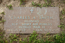 31 August 2017:   Veterans graves in Park Hill Cemetery in eastern McLean County.<br /> <br /> Charles A Smith  Illinois Sergeant Army Air Forces World War I Dec 15 1912 Jan 30 1972