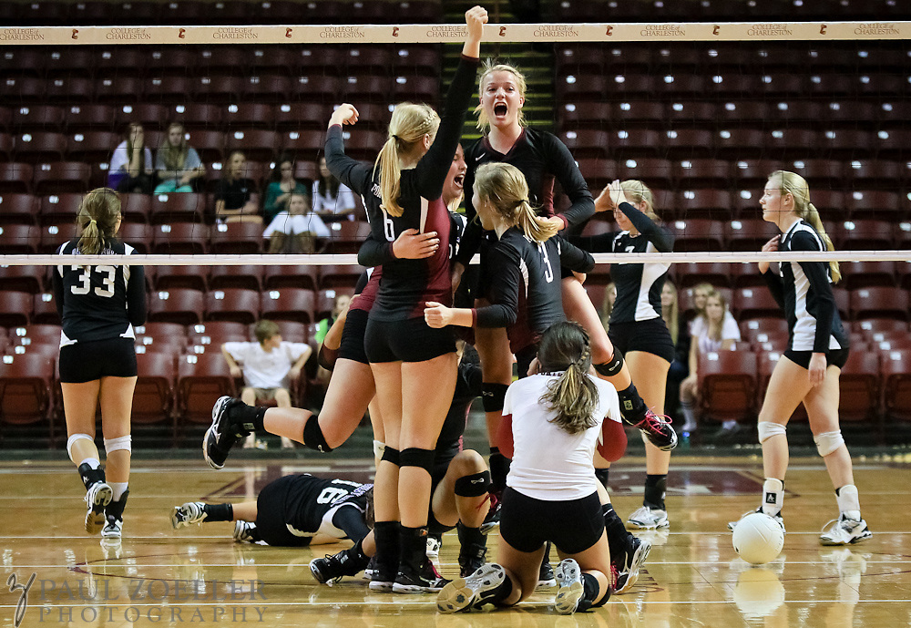 Porter-Guad celebrates after defeating Ashley Hall during the SCISA volleyball championship Monday, Oct. 22, 2012 in Charleston at the College of Charleston TD Arena. Paul Zoeller/Special to the Post and Courier