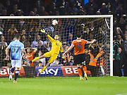 Luton Town player Danny Hylton scores the go ahead penalty in the second half  during the EFL Sky Bet League 2 play off second leg match between Luton Town and Blackpool at Kenilworth Road, Luton, England on 18 May 2017. Photo by Ian  Muir.