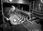 16-17/12/1959<br /> 12/16-17/ 1959<br /> 16-17 December 1959<br /> Distillery at Powers Dublin. Matthew Kelly, Kiev Drainer, taking a sample of worts for testing.