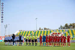 LARNACA, CYPRUS - Wednesday, March 7, 2018: Wales players before the Cyprus Women's Cup match between Austria and Wales on day nine of the Cyprus Cup tournament at the AEK Arena - Georgios Karapatakis. L-R: captain Sophie Ingle, goalkeeper Laura O'Sullivan, Loren Dykes, Alice Griffiths, Gwennan Davies, Charlie Estcourt, Melissa Fletcher, Kylie Nolan, Helen Ward, Jessica Fishlock, Rhiannon Roberts. (Pic by David Rawcliffe/Propaganda)