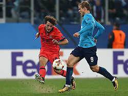 September 28, 2017 - Saint Petersburg, Russia - lvaro Odriozola of FC Real Sociedad (L) and Aleksandr Kokorin of FC Zenit Saint Petersburg vie for the ball during the UEFA Europa League Group L football match between FC Zenit Saint Petersburg and FC Real Sociedad at Saint Petersburg Stadium on September 28, 2017 in St.Petersburg, Russia. (Credit Image: © Igor Russak/NurPhoto via ZUMA Press)