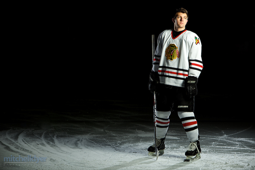 Portrait of a portland hockey player at the Sherwood, OR ice arena.