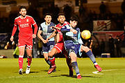 Wycombe Wanderers defender Joe Jacobson (3) looks to clear during the EFL Sky Bet League 2 match between Wycombe Wanderers and Swindon Town at Adams Park, High Wycombe, England on 13 February 2018. Picture by Dennis Goodwin.