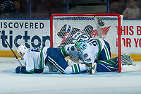 PENTICTON, CANADA - SEPTEMBER 8: Cole Candella #68 is checked into the net of Thatcher Demko #35 of Vancouver Canucks by Mason Appleton #82 of Winnipeg Jets doing second period on September 8, 2017 at the South Okanagan Event Centre in Penticton, British Columbia, Canada.  (Photo by Marissa Baecker/Shoot the Breeze)  *** Local Caption ***