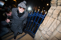 © London News Pictures. 28/10/2012. London, UK.  Former pop star Gary Glitter arriving back at his home in London after being arrested on suspicion of sex offences by police investigating Jimmy Savile abuse claims on October 28, 2012 . Photo credit: Ben Cawthra/LNP