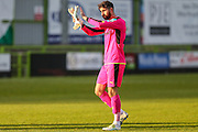 Forest Green Rovers goalkeeper Sam Russell(23) applauds the fans at the end of the game during the Vanarama National League match between Forest Green Rovers and Guiseley  at the New Lawn, Forest Green, United Kingdom on 22 October 2016. Photo by Shane Healey.