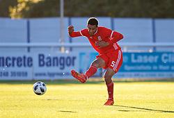 BANGOR, WALES - Monday, October 15, 2018: Wales' Ben Cabango during the UEFA Under-19 International Friendly match between Wales and Poland at the VSM Bangor Stadium. (Pic by Paul Greenwood/Propaganda)