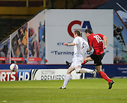 Gary Sutheland (10) puts Tayport 3-0 ahead as Tayport (red) beat North End (white) 4-1 in the GA Engineering Cup Final at Tannadice<br /> <br />  - &copy; David Young - www.davidyoungphoto.co.uk - email: davidyoungphoto@gmail.com