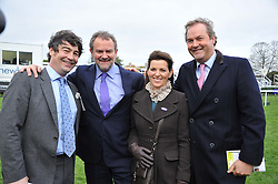 Left to right, NATHANIEL PARKER, HUGH BONNEVILLE and the HON.HARRY & CHICA HERBERT at the Hennessy Gold Cup at Newbury Racecourse, Berkshire on 26th November 2011.