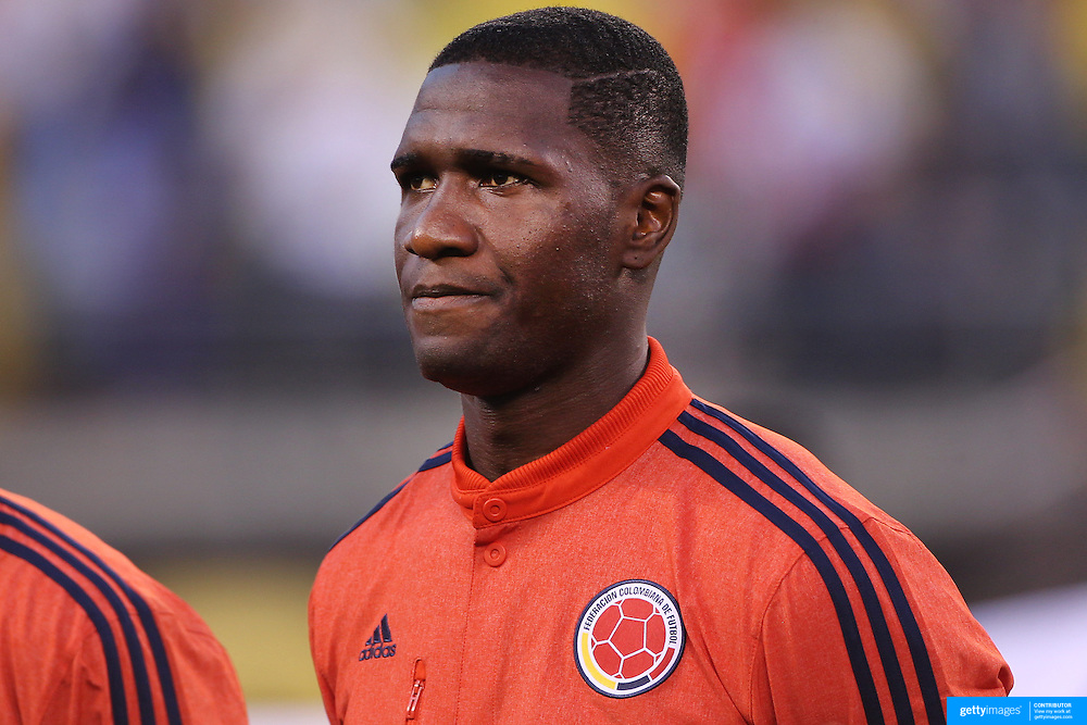EAST RUTHERFORD, NEW JERSEY - JUNE 17: Cristian Zapata #2 of Colombia during team presentations before the Colombia Vs Peru Quarterfinal match of the Copa America Centenario USA 2016 Tournament at MetLife Stadium on June 17, 2016 in East Rutherford, New Jersey. (Photo by Tim Clayton/Corbis via Getty Images)