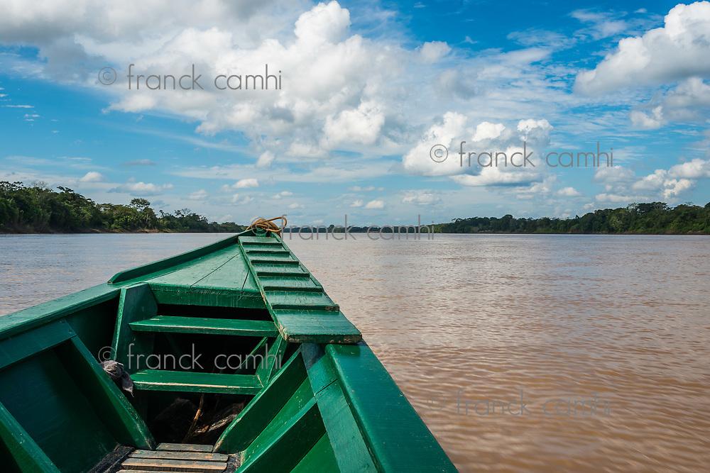 boat in the river in the peruvian Amazon jungle at Madre de Dios Peru