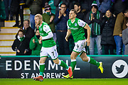 Goal scorer Paul Hanlon (#4) of Hibernian FC runs back to the half way line with Daryl Horgan (#7) of Hibernian FC during the Ladbrokes Scottish Premiership match between Hibernian FC and Hamilton Academical FC at Easter Road Stadium, Edinburgh, Scotland on 22 January 2020.