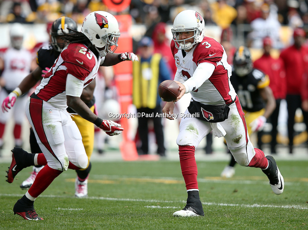 Arizona Cardinals quarterback Carson Palmer (3) hands off the ball to Arizona Cardinals running back Chris Johnson (23) during the 2015 NFL week 6 regular season football game against the Pittsburgh Steelers on Sunday, Oct. 18, 2015 in Pittsburgh. The Steelers won the game 25-13. (©Paul Anthony Spinelli)