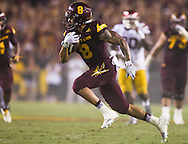 Arizona State University and University of Southern California in a football game on September 26, 2015 in Tempe, AZ.  USC won 42 to 14.  At half, USC led 35 to 0.<br /> <br /> D.J. Foster (8) runs the ball in the third quarter for ASU.