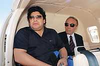 17/09/04 - DIEGO MARADONA GAVE AN INTERVIEW IN AN HELICOPTER - Buenos Aires - Argentina.<br />He gave his last interview to an important channel of Argentina before his trip to Cuba where he will continue his medical treatment for drugs.<br />©Argenpress.com