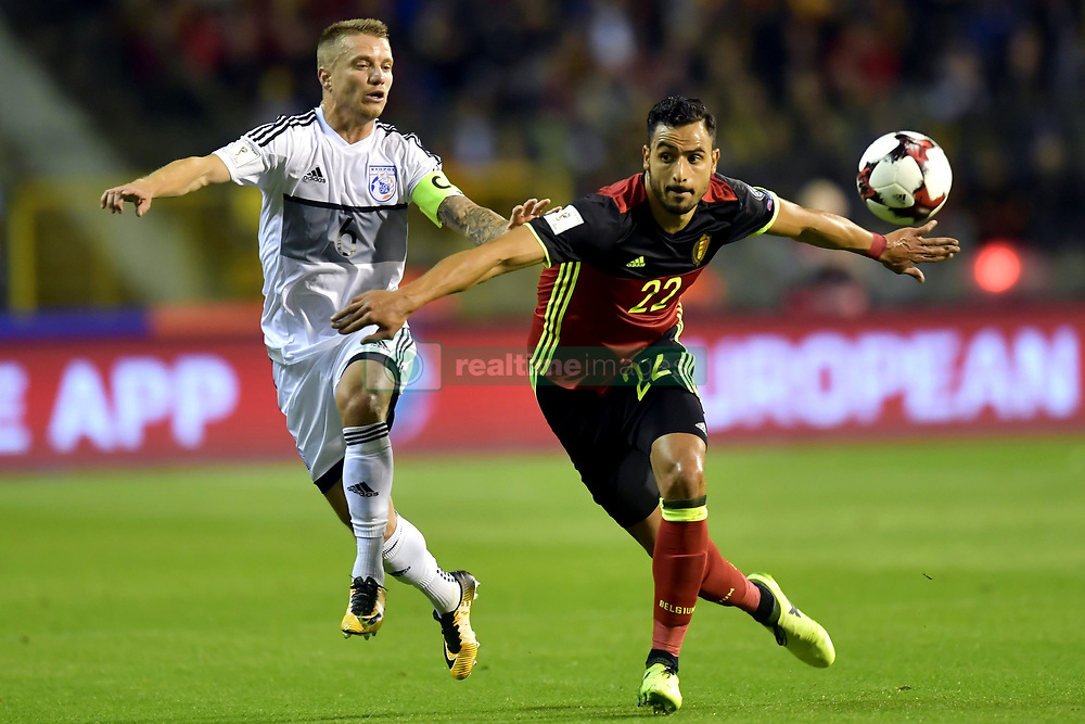 October 10, 2017 - Bruxelles, Belgique - Nacer Chadli midfielder of Belgium battles for the ball with Jason Demetriou defender of Cyprus (Credit Image: © Panoramic via ZUMA Press)