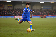 AFC Wimbledon defender George Francomb (7) free kick during the EFL Sky Bet League 1 match between AFC Wimbledon and Charlton Athletic at the Cherry Red Records Stadium, Kingston, England on 11 February 2017. Photo by Matthew Redman.