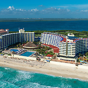 Aerial view of Crown Paradise hotel. Cancun, Mexico.